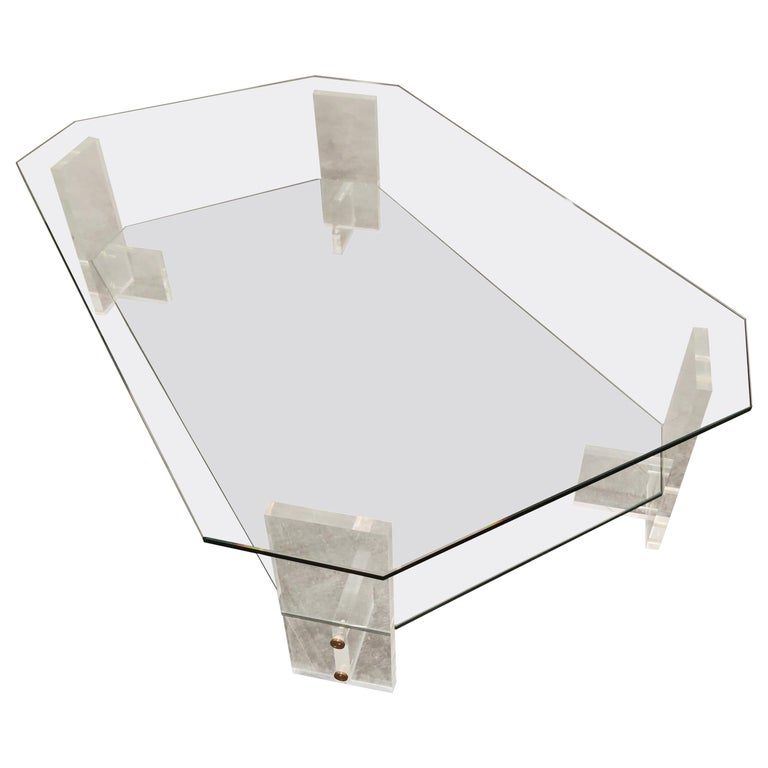 Lucite and Glass Coffee Table, 1970s For Sale