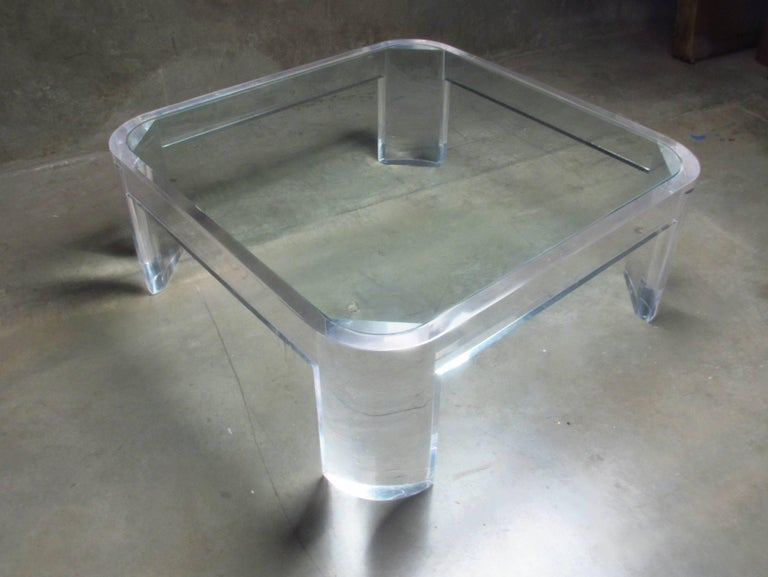 Mid-Century Modern Lucite and Glass Coffee Table by Les Prismatiques, circa 1970s For Sale