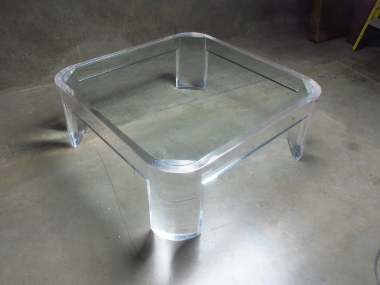 American Lucite and Glass Coffee Table by Les Prismatiques, circa 1970s For Sale
