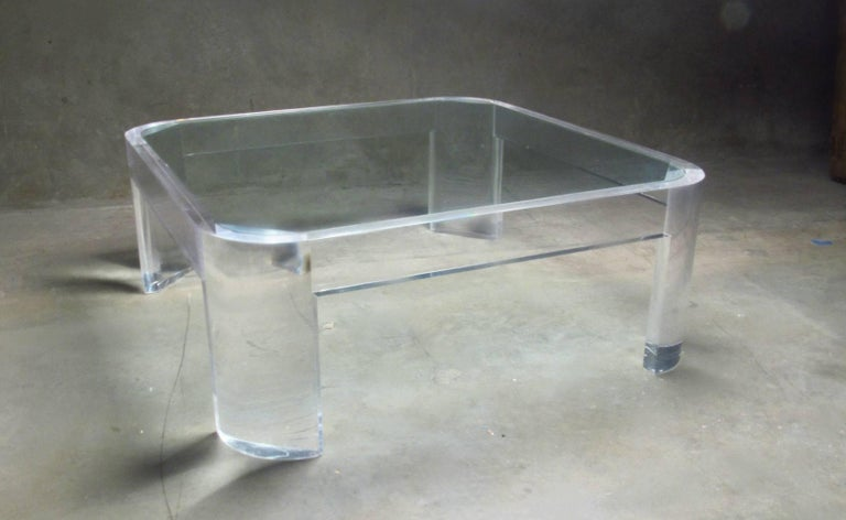 Molded Lucite and Glass Coffee Table by Les Prismatiques, circa 1970s For Sale