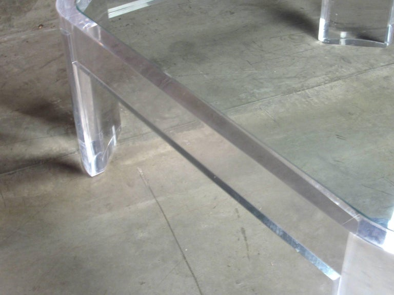 20th Century Lucite and Glass Coffee Table by Les Prismatiques, circa 1970s For Sale