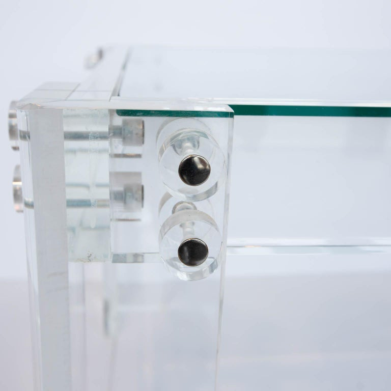 Modern Lucite and Glass Coffee Table For Sale