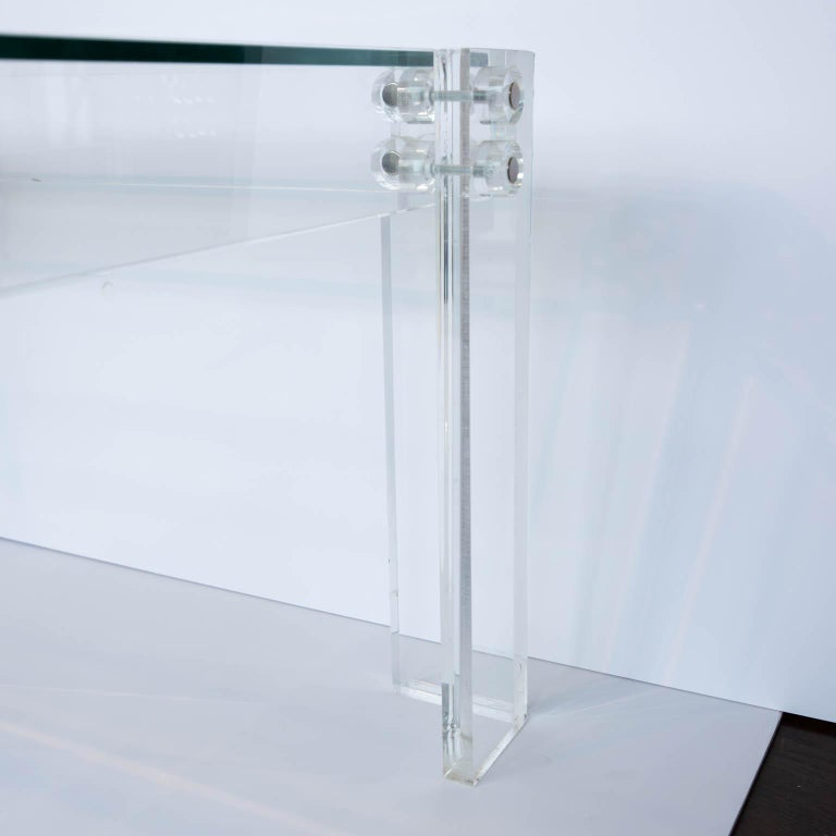 American Lucite and Glass Coffee Table For Sale