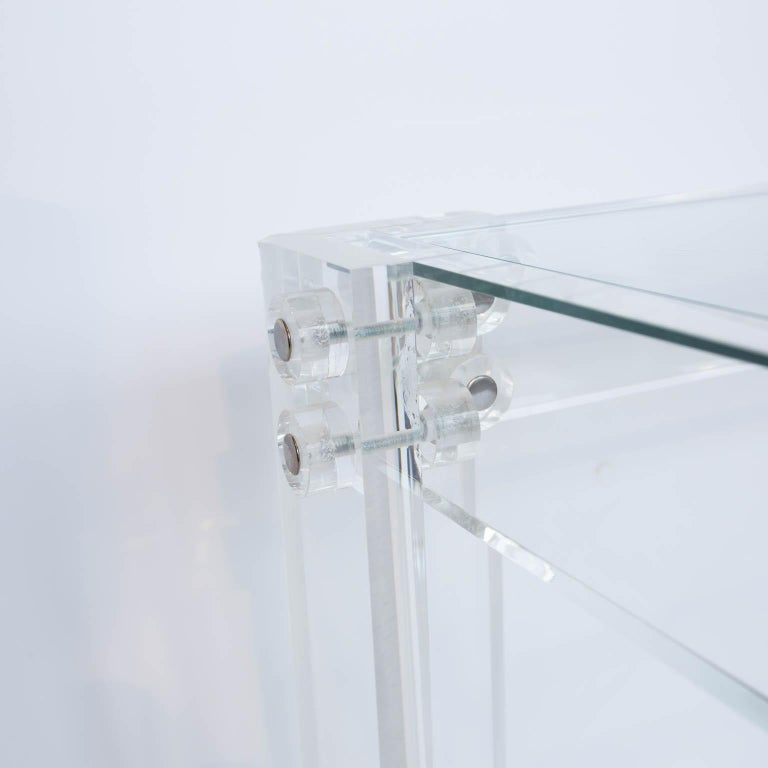 Contemporary Lucite and Glass Coffee Table For Sale