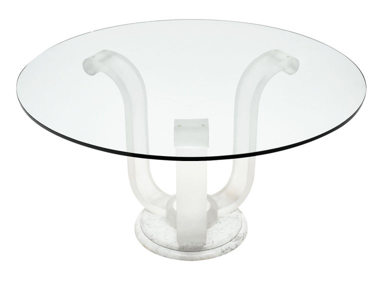 Mid-Century Modern Lucite and Glass Dining Table For Sale