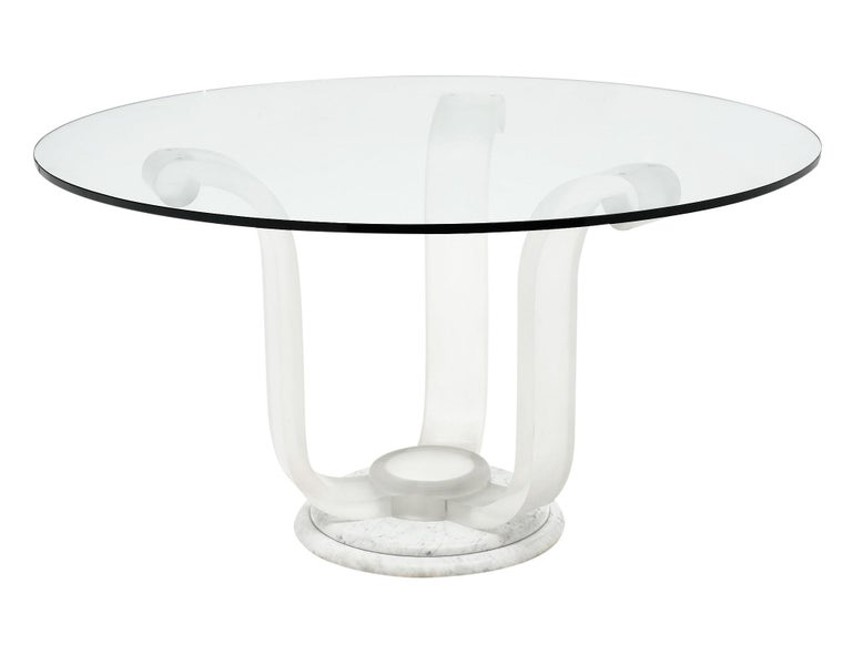 French Lucite and Glass Dining Table For Sale