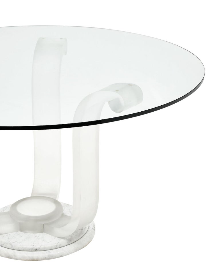 Lucite and Glass Dining Table In Good Condition For Sale In Austin, TX