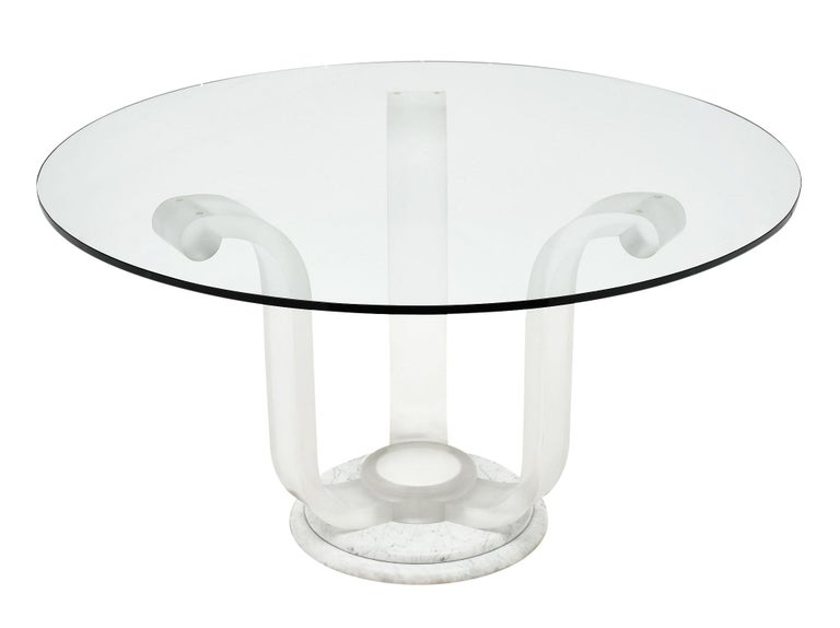 Lucite and Glass Dining Table For Sale 2