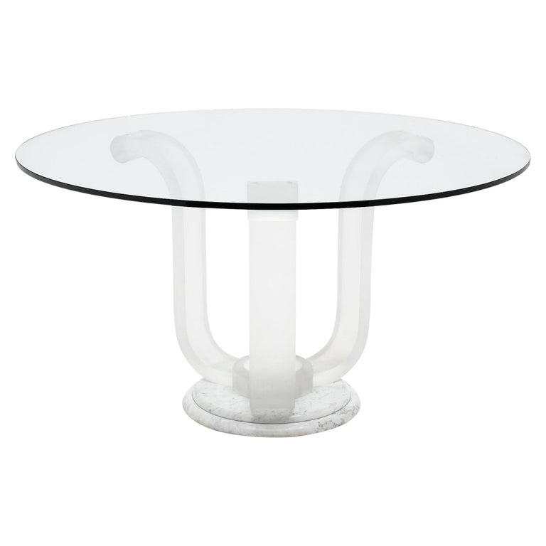 Lucite and Glass Dining Table For Sale