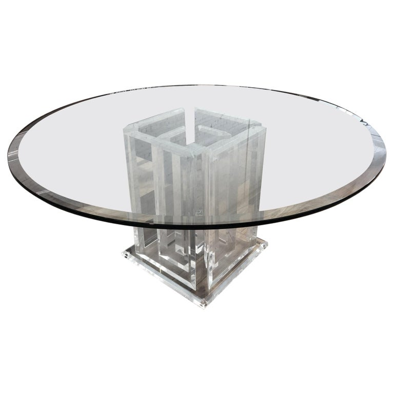 Lucite And Glass Nine Pillar Glass Dining Room Table
