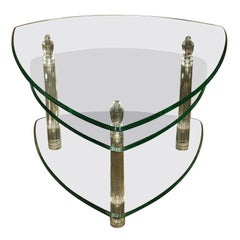 Lucite And Glass Tiered Table