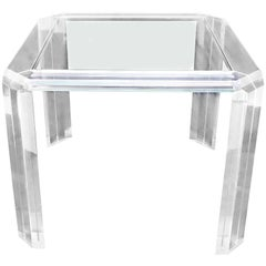Lucite and Glass Top Square Dining Game Table Mid-Century Modern