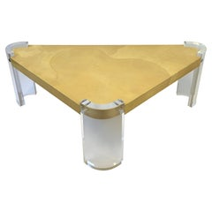 Lucite and Goatskin Parchment Triangular Shaped Coffee Table