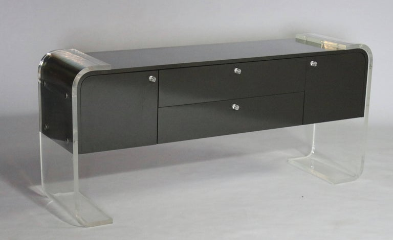 Mid-Century Modern Lucite and Lacquered Wood Sideboard For Sale