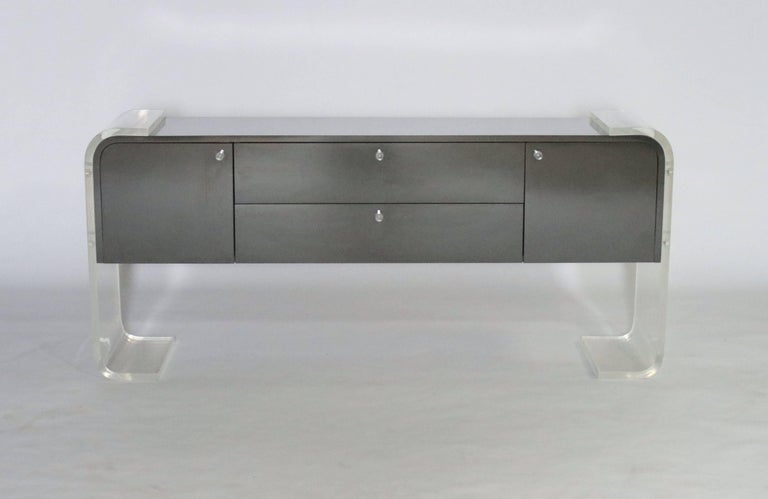 American Lucite and Lacquered Wood Sideboard For Sale
