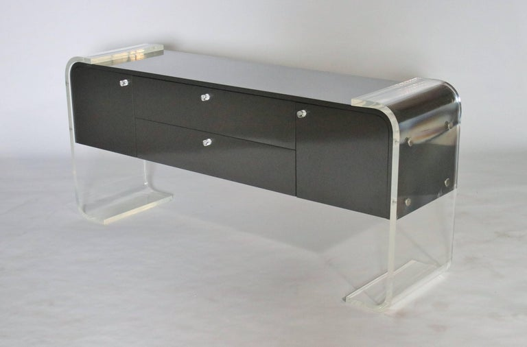 Late 20th Century Lucite and Lacquered Wood Sideboard For Sale