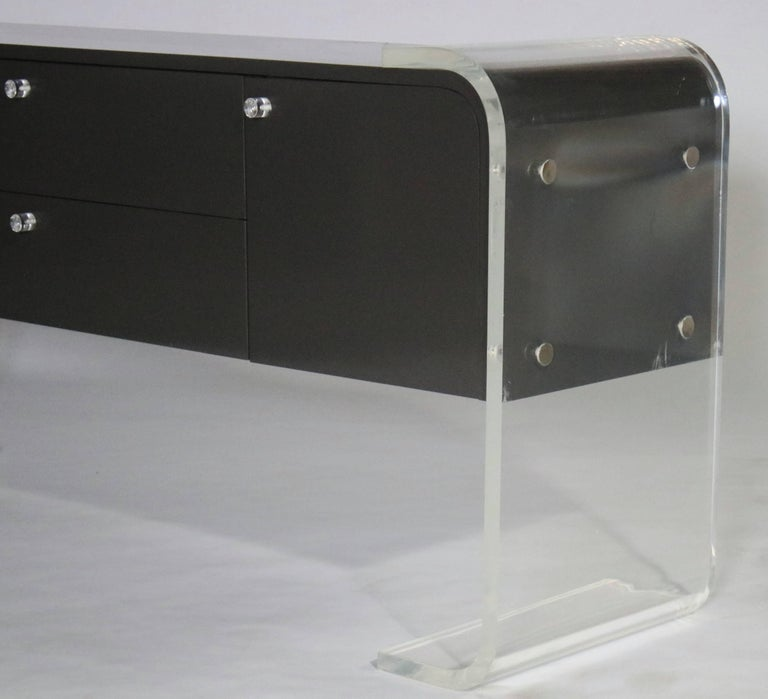 Lucite and Lacquered Wood Sideboard For Sale 1