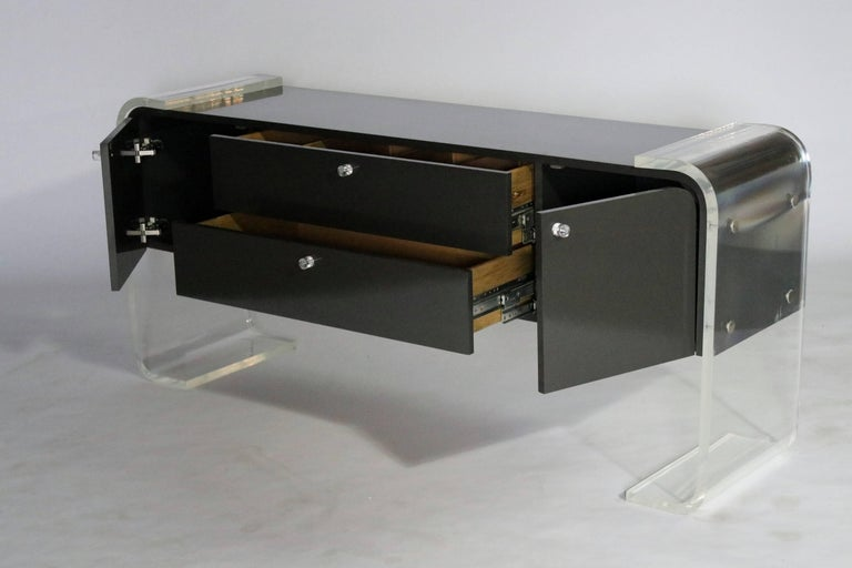 Lucite and Lacquered Wood Sideboard For Sale 2