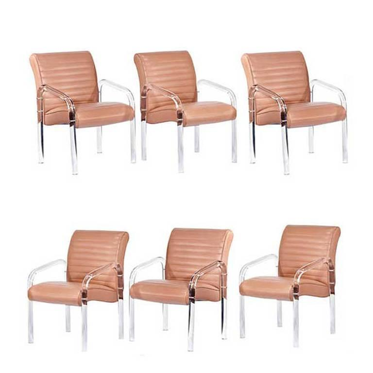 American Lucite and Leather Lounge Chairs by Leon Frost, Signed For Sale