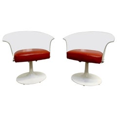 Lucite and Leather Space Age Chairs