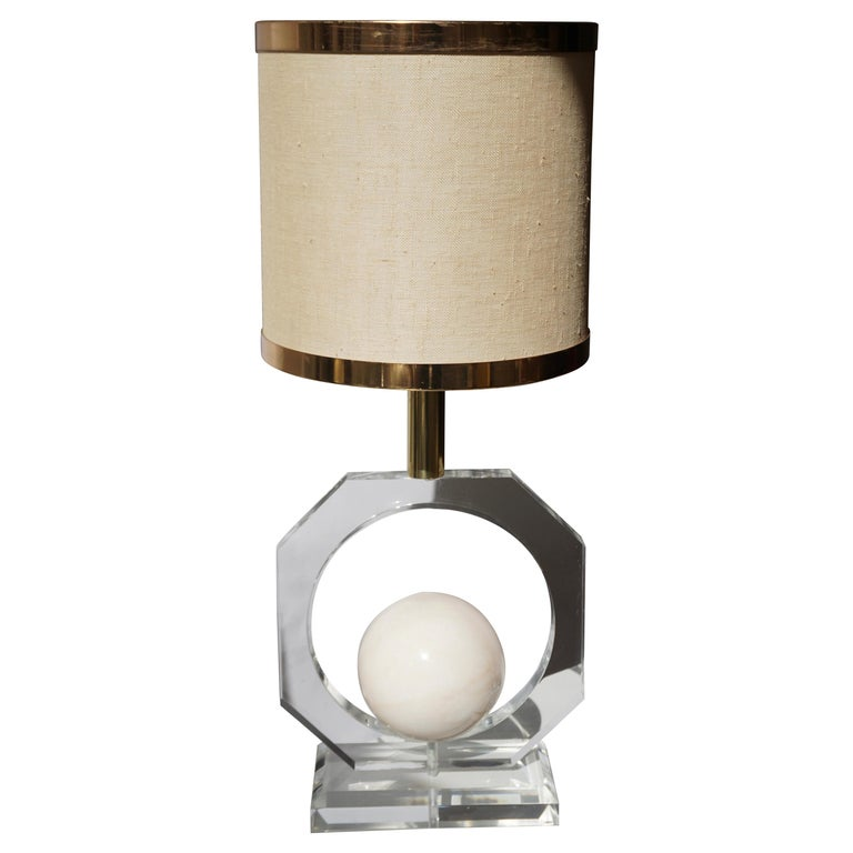 Lucite and Marble Table Lamp For Sale