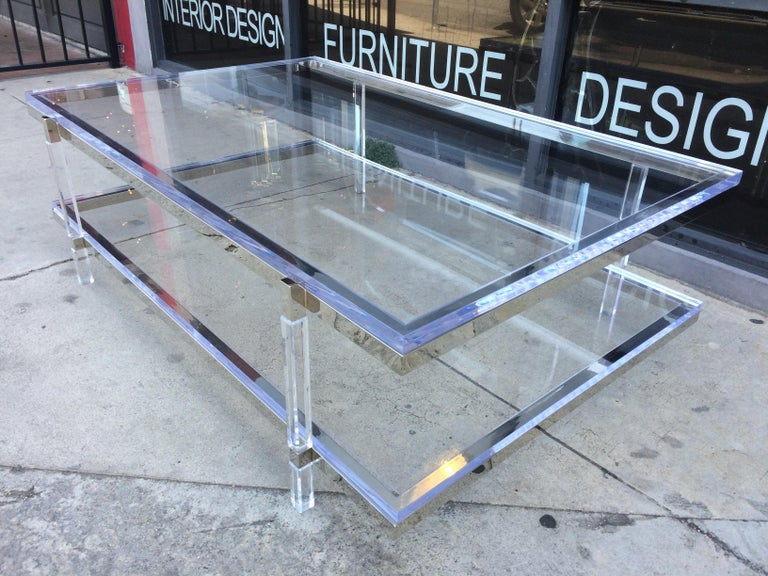 Lucite and Nickel Two-Level Coffee Table by Charles Hollis Jones For Sale 3