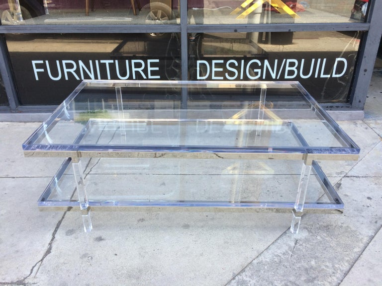 Lucite and Nickel Two-Level Coffee Table by Charles Hollis Jones For Sale 4