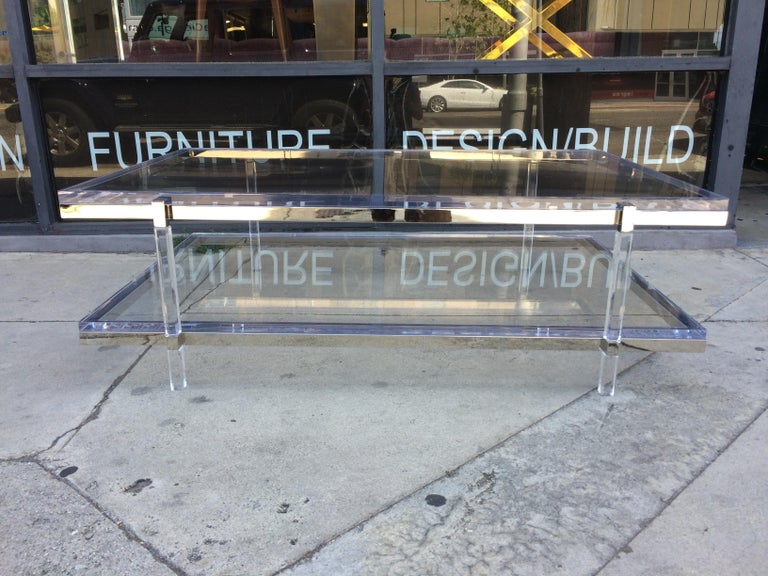 Lucite and Nickel Two-Level Coffee Table by Charles Hollis Jones For Sale 5