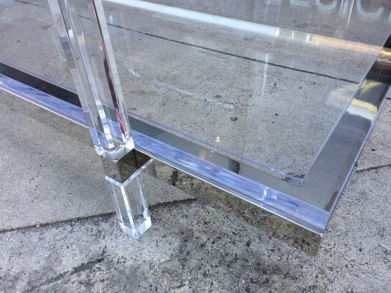 Lucite and Nickel Two-Level Coffee Table by Charles Hollis Jones For Sale 6