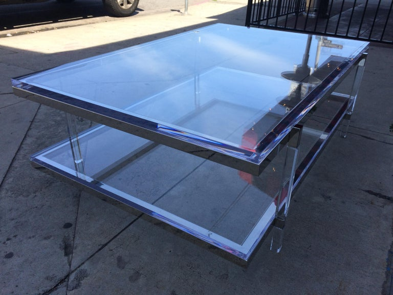 Lucite and Nickel Two-Level Coffee Table by Charles Hollis Jones For Sale 7