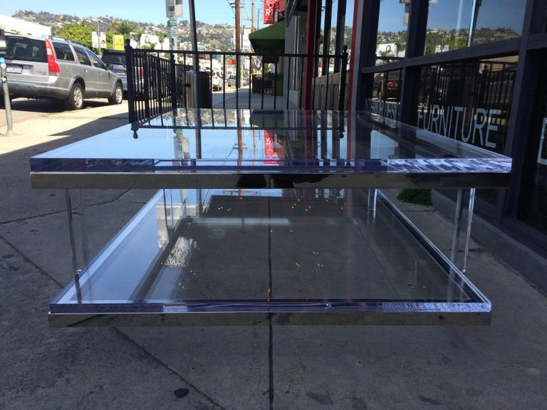 Lucite and Nickel Two-Level Coffee Table by Charles Hollis Jones For Sale 9