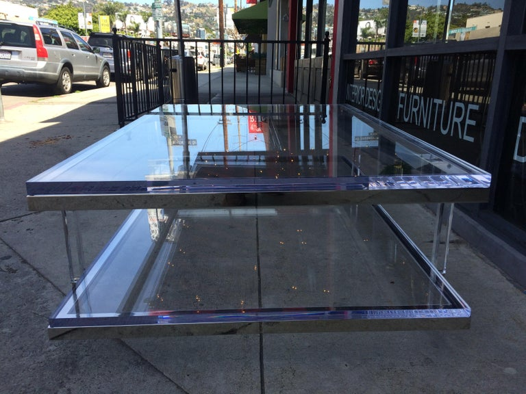 Lucite and Nickel Two-Level Coffee Table by Charles Hollis Jones For Sale 10