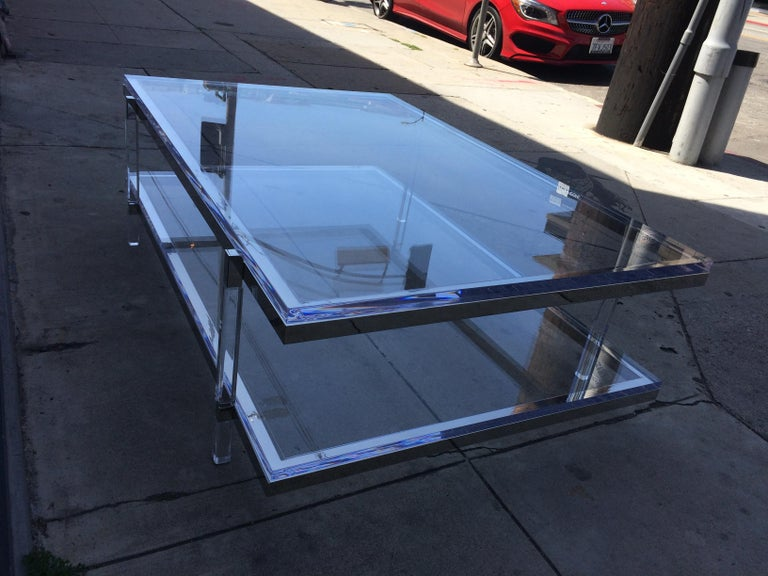Lucite and Nickel Two-Level Coffee Table by Charles Hollis Jones For Sale 12