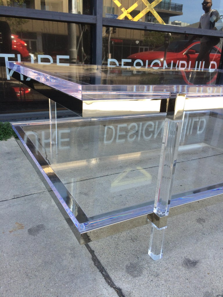 Late 20th Century Lucite and Nickel Two-Level Coffee Table by Charles Hollis Jones For Sale