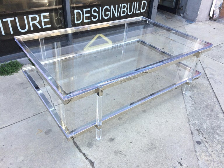 Lucite and Nickel Two-Level Coffee Table by Charles Hollis Jones For Sale 1
