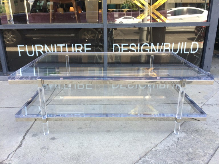 Lucite and Nickel Two-Level Coffee Table by Charles Hollis Jones For Sale 2