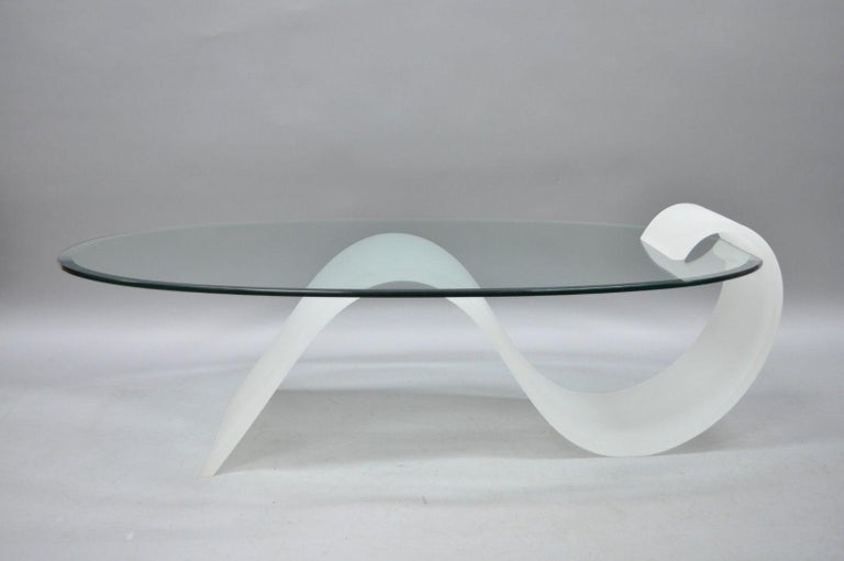 36d3d71c885d Vintage sculptural Lucite and oval glass Mid-Century Modern s-shaped  cantilever coffee table