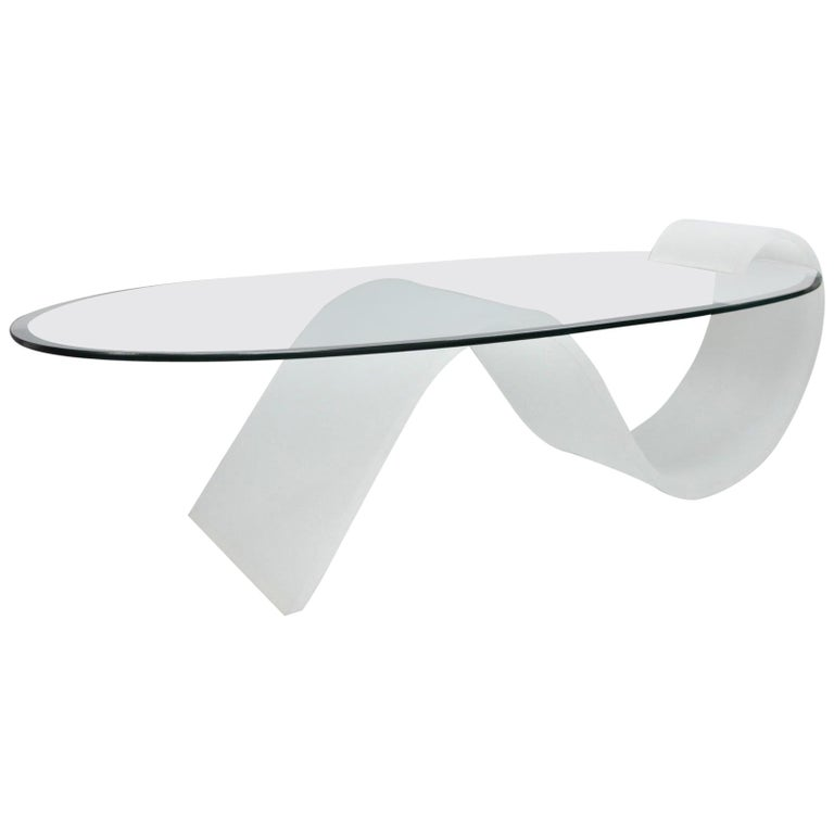 5852e2beba19 Lucite and Oval Glass Mid-Century Modern S-Shaped Cantilever Coffee Table  For Sale