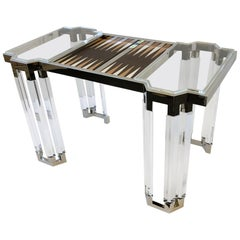 Lucite and Polish Nickel Backgammon Table by Charles Hollis Jones