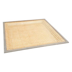 Lucite and Rattan Large Square Tray