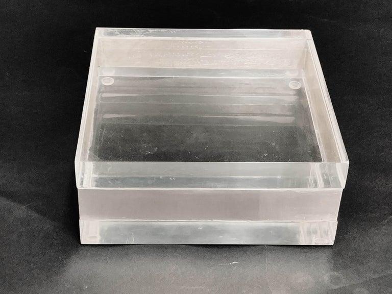 Lucite and Silver Squared Italian Decorative Box, 1970s For Sale 8