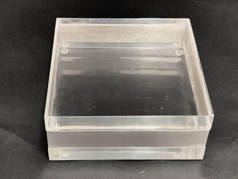 Lucite and Silver Squared Italian Decorative Box, 1970s For Sale 9