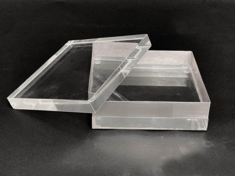 Lucite and Silver Squared Italian Decorative Box, 1970s For Sale 10