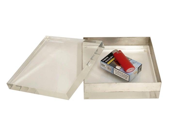 Lucite and Silver Squared Italian Decorative Box, 1970s For Sale 11