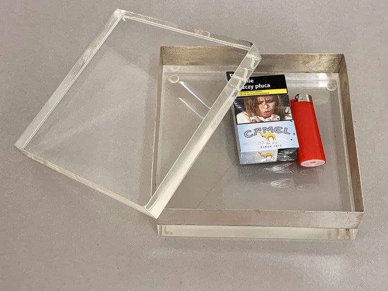 Lucite and Silver Squared Italian Decorative Box, 1970s For Sale 12