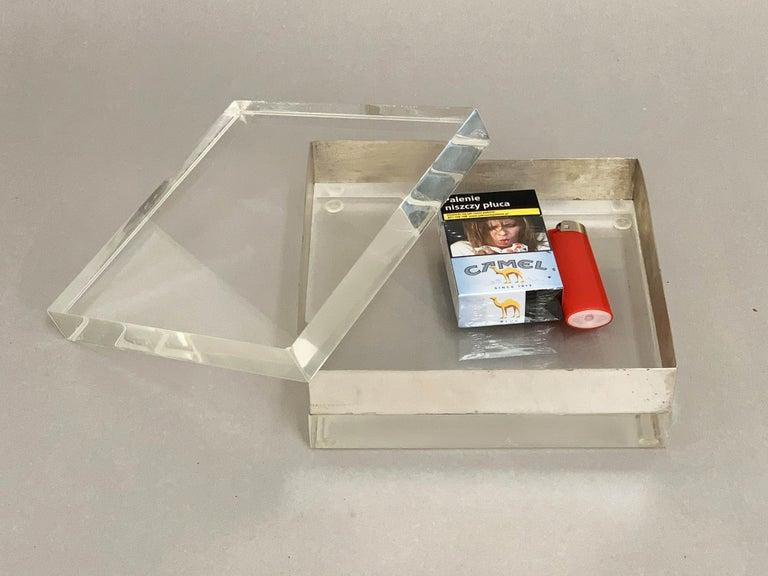 Lucite and Silver Squared Italian Decorative Box, 1970s For Sale 13