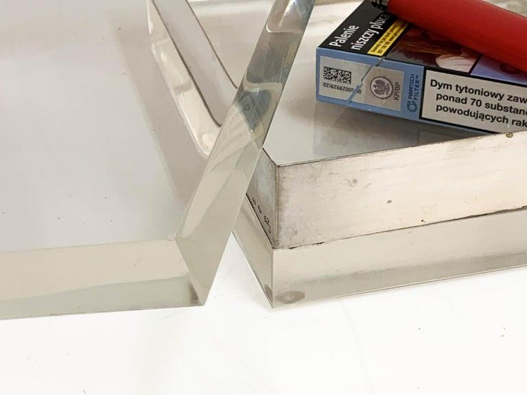 Lucite and Silver Squared Italian Decorative Box, 1970s For Sale 14