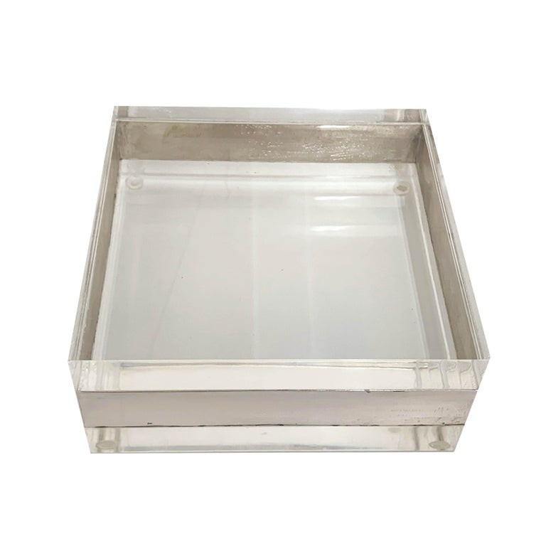 Mid-Century Modern Lucite and Silver Squared Italian Decorative Box, 1970s For Sale