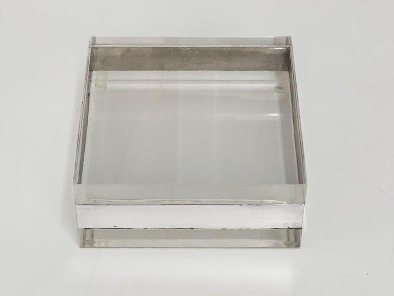 20th Century Lucite and Silver Squared Italian Decorative Box, 1970s For Sale