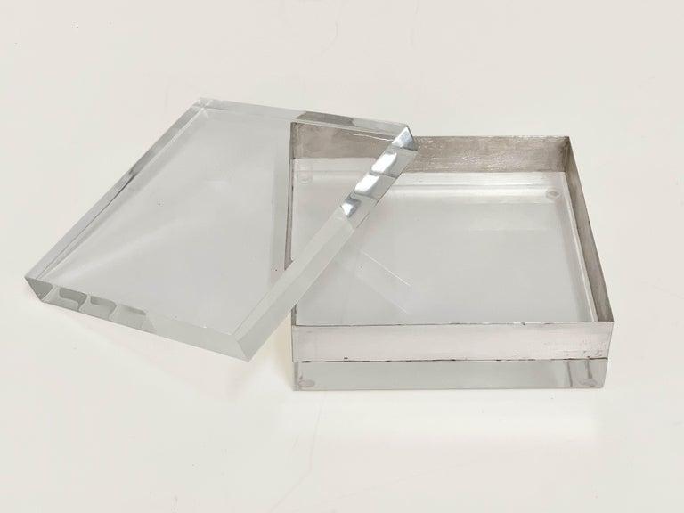 Lucite and Silver Squared Italian Decorative Box, 1970s For Sale 1